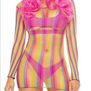 Rave wonderland rainbow fishnet mini dress